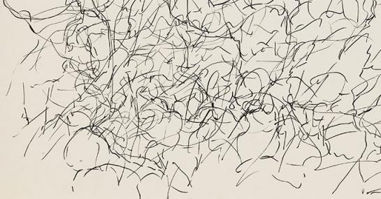 Sans titre, encre sur papier, 1957, 52 x 66 cm, Fondation Guido Molinari, © SODRAC Photo : Guy L'Heureux