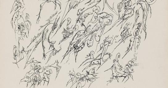 Sans titre, encre sur papier, 1953, 28 x 34,8 cm, Fondation Guido Molinari, © SODRAC Photo : Guy L'Heureux